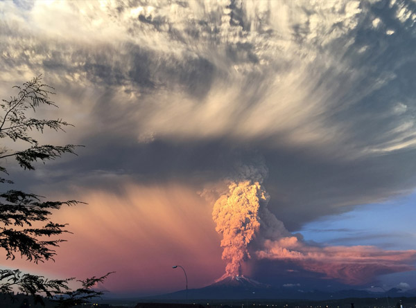 Smoke and Ask rising from Chile's Volcano Eruption