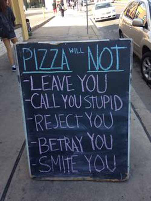 Funny chalkboards outside restaurants