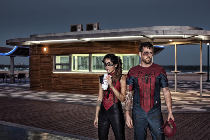 Spiderman and Spidergirl having coke