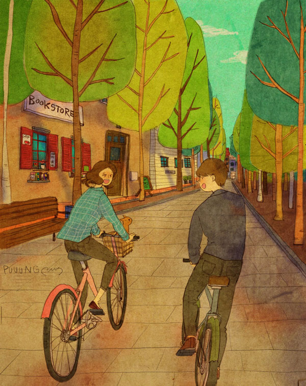 Grafolio (Puuung) Love is in riding a bike at park