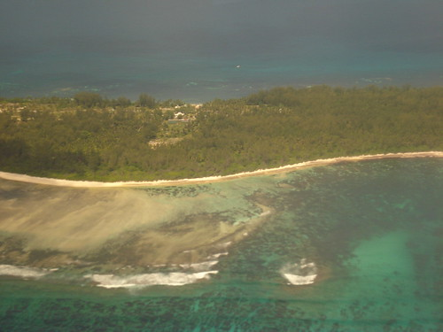 The creole village on Desroches Island from the air