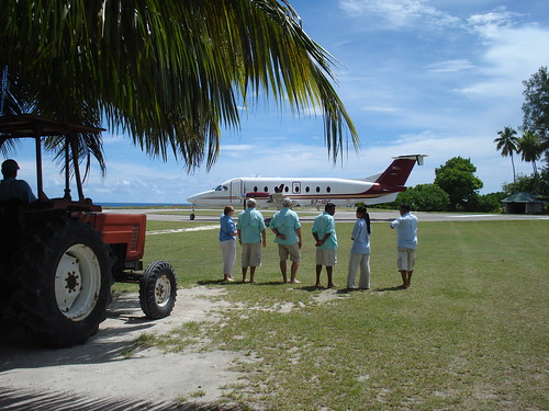 Greeting the flight to Desroches Island