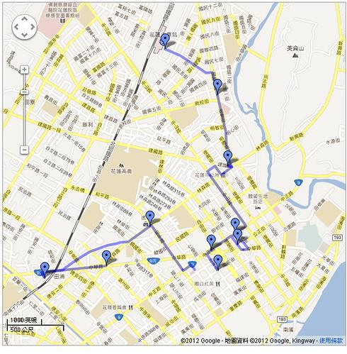 2012花蓮Day2 走路路線圖