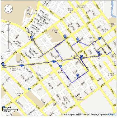 2012花蓮Day1 走路路線圖