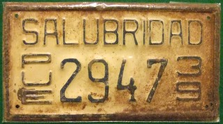 MEXICO, PUEBLA 1939---SALUBRIDAD HEALTH BOARD LICENSE PLATE