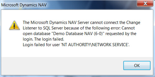 Error - The Microsoft Dynamics NAV NAV Server cannot connect to the Change Listener to SQL Server