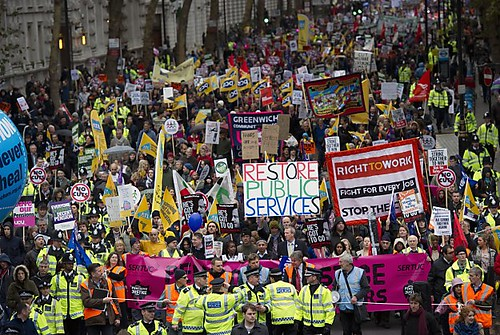 A one-day general strike in Britain protested austerity measures imposed by the Conservative and Liberal-Democratic coalition government. The world capitalist crisis has impacted workers throughout the industrialized countries and the developing states. by Pan-African News Wire File Photos