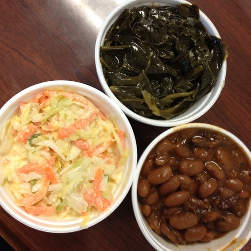 Greens, Pintos, Cole Slaw @ Percy Street BBQ