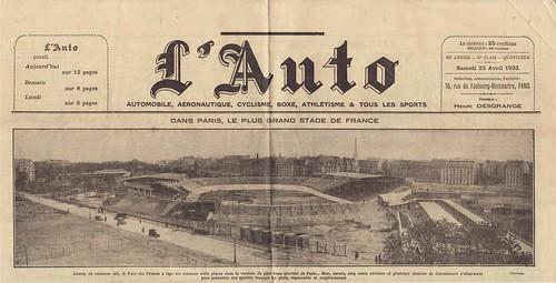 """""""l'Auto"""" April 23th, 1932 - inauguration of the """"new"""" Parc des Princes"""