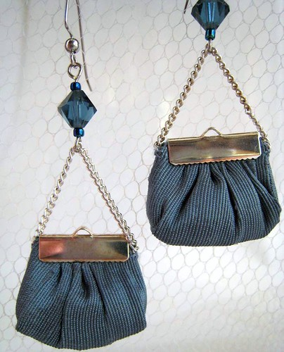 Silk mini handbag earrings silver by b-a-boop