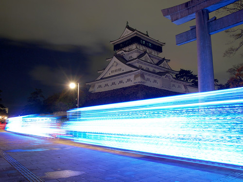 light castle japan night shrine view trail 日本 夜景 神社 城 kokura 小倉 光跡