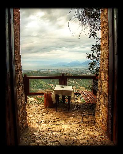 door blue autumn sky cloud brown mountain green castle bench table landscape grey october gate view main hill entrance finepix fujifilm albania hdr tirana 2011 3xp petrela s9600 fshatykudua