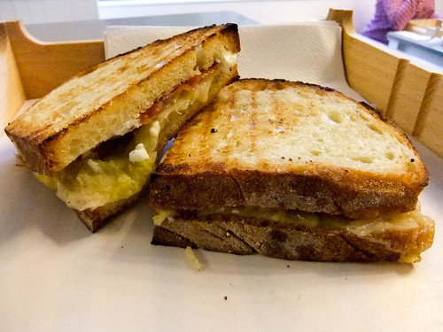 Grilled Gruyere, Goat Cheese, Leek and Pancetta Sandwich, Little Muenster