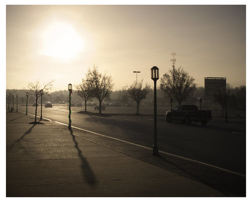 fog sunrise shopping parking lot center southdale