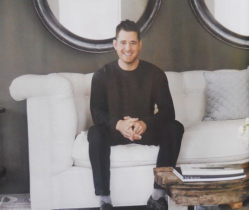 leather chesterfield sofa with Michael Buble