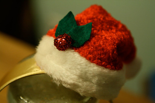 Twelve crafts of christmas tiny santa hat fascinator for Tiny top hats for crafts
