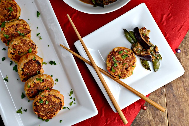 Thai Red Curry Fish Cakes, Thai Style Eggplant