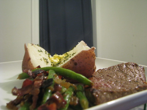 Awesomest Green Beans Ever with steak and potatoes