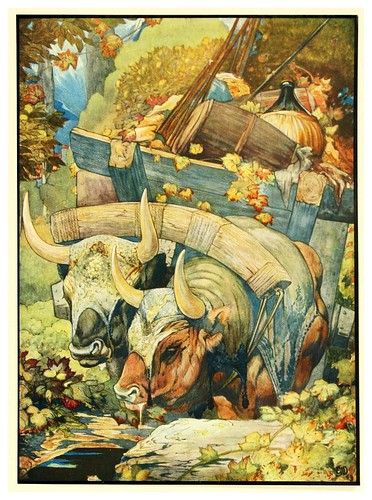 003-El buey y los ejes-The fables of Aesop 1909-Edward Detmold