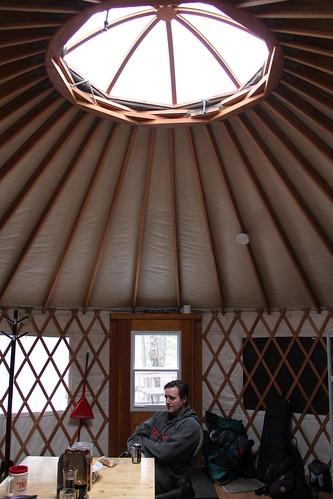 Zartimus relaxing in the Taylor Lake yurt