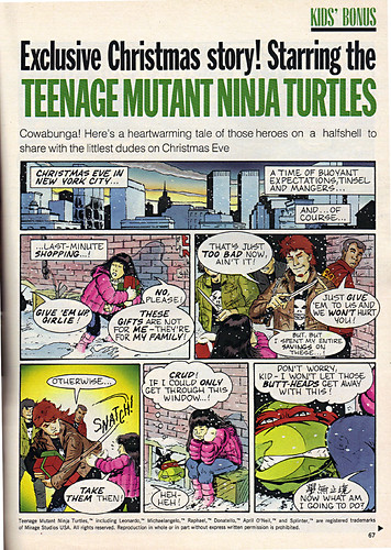 "Ladies Home Journal :: ""The TEENAGE MUTANT NINJA TURTLES in 'Twas the FIGHT before Christmas' // pg. 67 (( December 1990 ))"