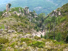 La crête du monolithe au-dessus des vasques terminales du canyon de Lora