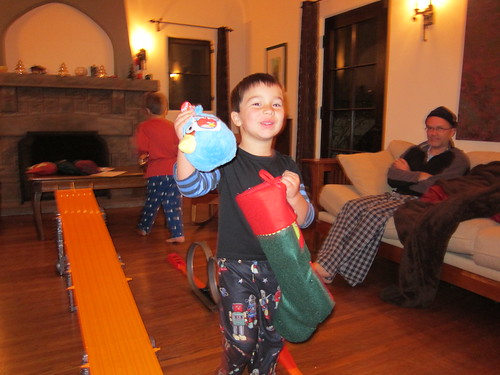 Finn finds a mini Blue Bird in his stocking