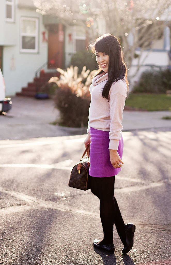 the limited pink cowlneck sweater, j. crew classic felted wool mini vintage violet, forever 21 chevron patterned tights, louis vuitton speedy 25, tory burch reva ballet flats