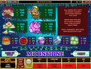 Moonshine Slots Payout