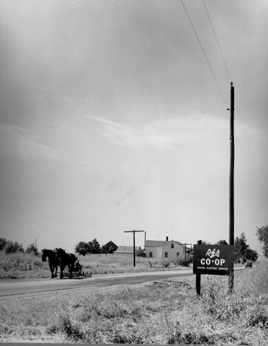 Rural Electrification Administration in North Fairfield, Ohio was responsible for the installation of these electric power lines in 1940.