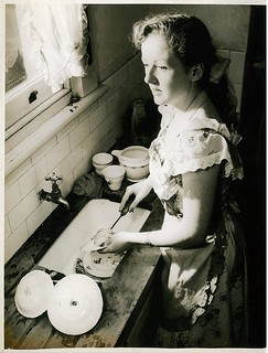 "Maree Austin washes up during the run of ""White sheep of the family"", 1953"