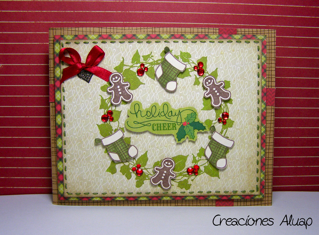 Tarjeta corona de navidad manualidades for Coronas de navidad hechas a mano