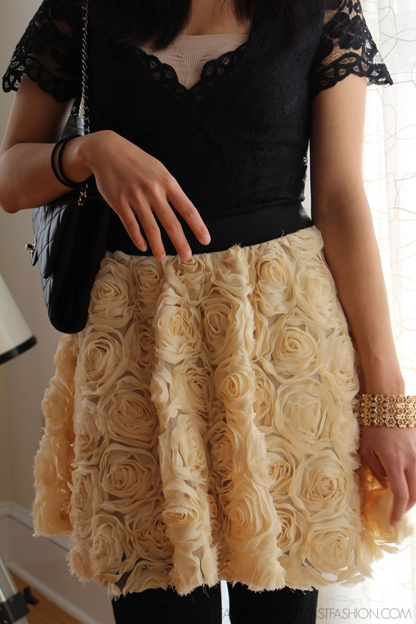 OOTD: Christmas Dinner Outfit Featuring the Free People Rosey Skirt