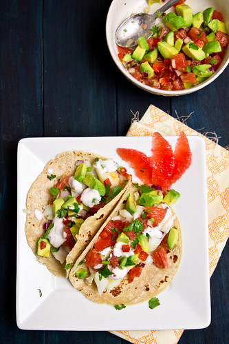 Fish Tacos with Grapefruit and Avocado Salsa