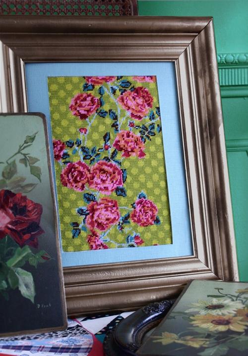 polkadot roses needlepoint