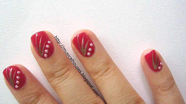 chinese new year nail art red gold 1