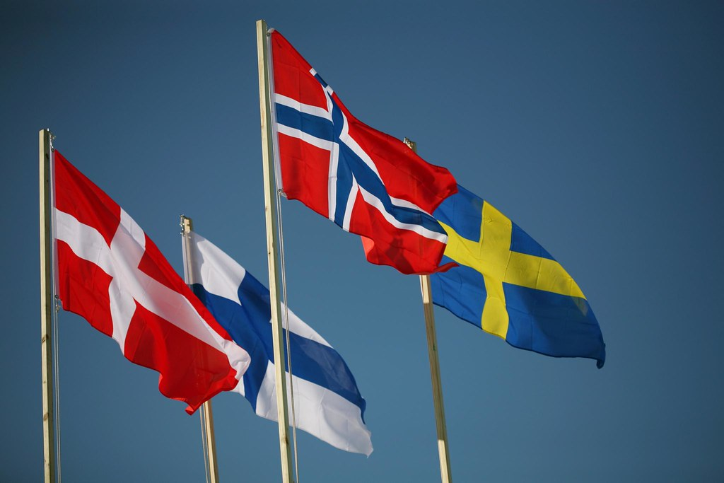 flags of the Nordic Village Bridge