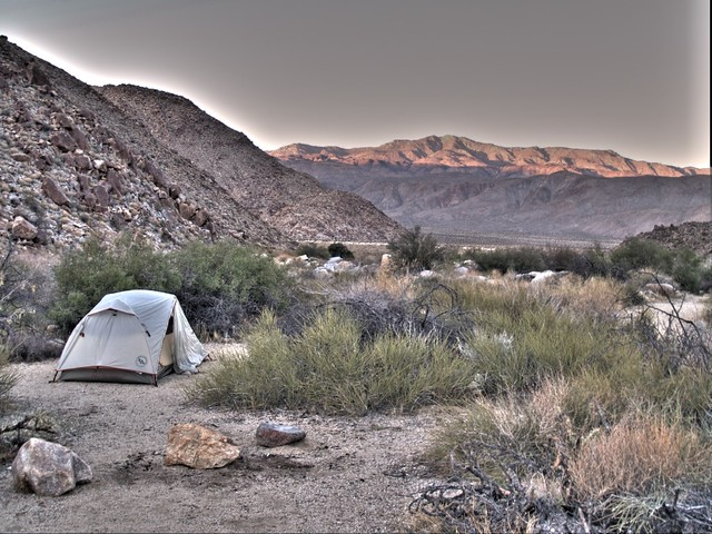 HDR sunset shot of our campsite near Cougar Canyon, with Toro Peak and Santa Rosa Mountain in the distance.