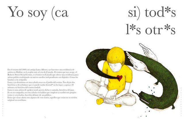 A page from Lleuven Queers showing a person in a yellow shirt reading a book. A green lizard tail emerges from their heart. Spanish pronouns with asterisks where the vowels are loom large, bringing attention to their gendered nature