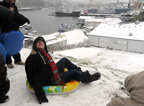 Pre-sledding bliss, winter wonderland, plastic floater doubles as sled, east side of the hill, view of Lake Union, Gas Works Park, Seattle, Washington, USA by Wonderlane