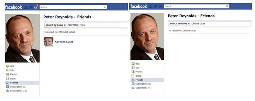 Caroline Lucas MP removes Peter Reynolds as Facebook friend