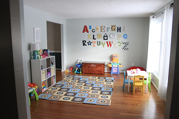 Karen at home converting the living room into a play room for Playroom living room ideas