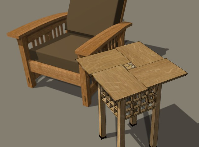 Gridwork Table and Morris Chair