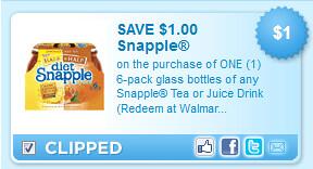 Snapple Tea Or Juice Drink (redeem At Walmart) Coupon
