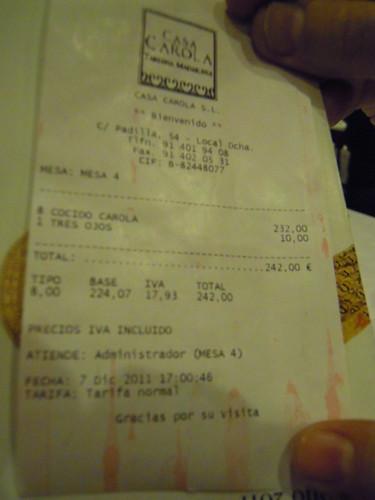 Madrid | Casa Carola | La cuenta (que nos trae)