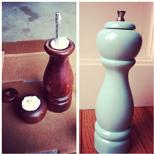 My wooden pepper mill needed a little color in its life. #turquoise #diy