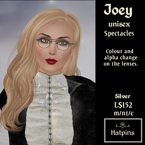 Hatpins - Joey Spectacles - Silver (Advert)