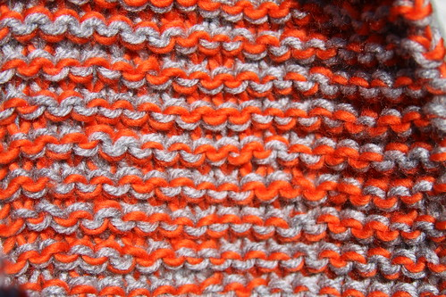 Orange and Grey Knit Cowl