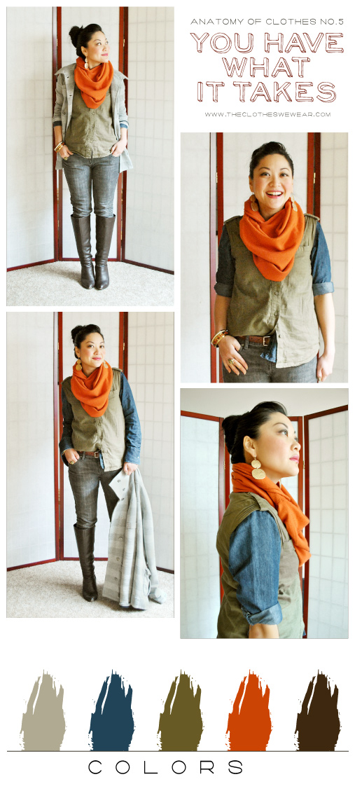 Anatomy of Clothes No. 5 - Winter Scarf, Denim, Boots, Orange - You Have What it Takes