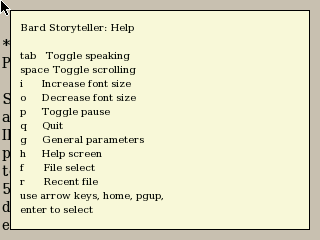 Bard Storyteller text reader on NanoNote